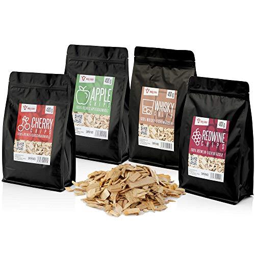 BBQ-Toro Smoker Chips Set | 4 Sorten Räucherchips à 400 gr | rauchintensive Smokerchips aus 100% Holz | Grillchips für Gasgrill, Smoker, BBQ