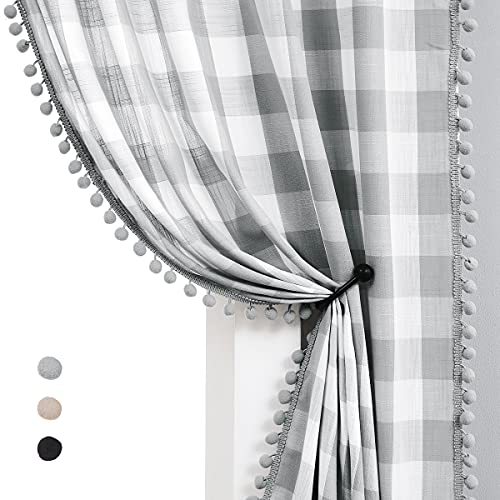White Grey Buffalo Check Curtains 84inch Long Farmhouse Gingham Linen Semi Sheer Rustic Drapes Window Treatment Sets for Living Room Bedroom 2 Panels Rod Pocket