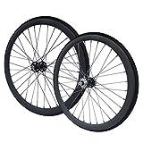 RIDDOX Berlin 700C 28 Zoll Laufradsatz mit Reifen Laufräder Fixie Singlespeed Hochflansch Fixed Gear Wheel Schwarz Matt 40 MM