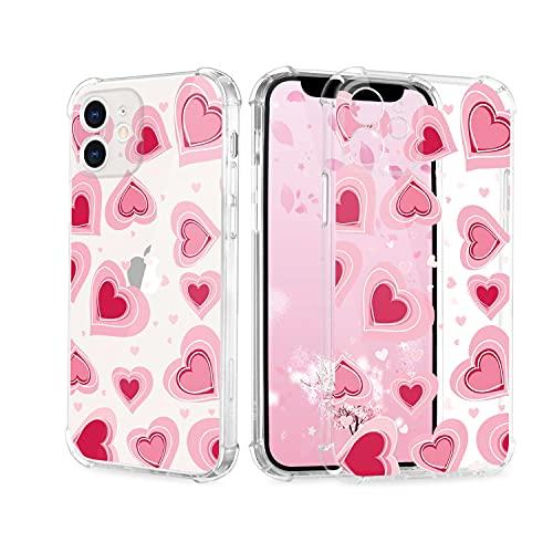 Funda para iPhone SE 2020, para mujer y niña, transparente, con estampado de corazones, bonita impresión de corazón, TPU, antigolpes, antiarañazos y antigolpes.