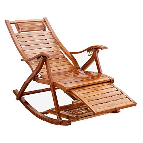 LHNLY-Liegen Bequemer Relax-Schaukelstuhl aus Holz Sun-Lounge Chair |Einstellbare Liege, Sonnenliege, Solarium