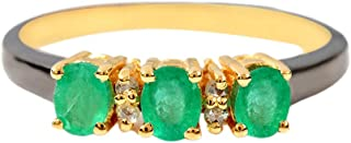 925 Sterling Silver With Three Magnificent Emerald Stone And 0.05 Carat Brown Natural Diamond (I2-I3 Clarity ) For Women