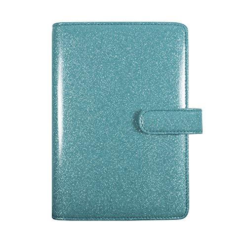 Exacompta Organiser Exatime SAD 17 light Eden 74022E couverture avec une matière pvc paillettes fermeture avec un bouton magnétique 14 x 19 cm Septembre 2021 à Décembre 2022 coloris turquoise