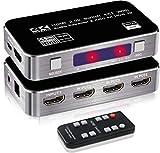 NewBEP - Interruttore HDMI 4 K a 60 Hz 4 x 1, uscita 4 in 1 con estrattore audio ottico e uscita audio stereo da 3,5 mm, HDMI 2.0b, HDCP 2.2, funzione 3D, supporto ARC, DTS-HD/Dolby-TrueHD