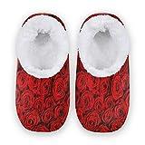 TropicalLife BGIFT Pantuflas de espuma viscoelástica con diseño de rosas rojas, para el hogar, zapatos cálidos y suaves, forrados con forro polar, para interiores y exteriores, para dormitorio, antid
