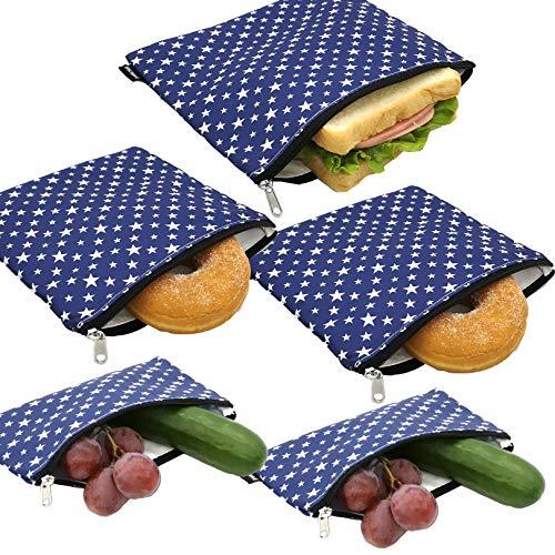 Wiederverwendbare Sandwich-Taschen, waschbar, Stoff, wiederverwendbar, Snack-Taschen, spülmaschinenfest, Lunch-Taschen, Lebensmittelbeutel mit Reißverschluss, Set von 5 Stück (Stern)