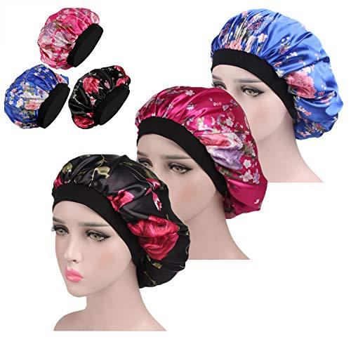 WBCBEC Bonnet de sommeil 3 pièces large bande Bonnet de sommeil Bonnet de nuit Soft Night Sleep Femme Filles (Noir Bleu et Rose Rouge)