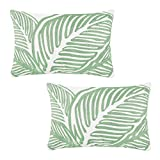 """Embroidered Leaf Decorative Lumbar Pillow Cover Tropical Green Leaves Embroidery Pillow Case for Couch Sofa Bedroom, Plant Monstera Leaf Pillow Cover Handmade Cotton Pillowcase Small 12""""X20"""", Set of 2"""