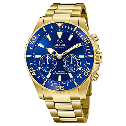 JAGUAR Reloj Modelo J899/2 de la colección Connected, Caja de 45,7 mm Azul con Correa de Acero Chapado para Caballero