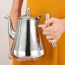 TOUA 1.5L Stainless Steel Tea Coffee Pot with Strainer Infuser Filter Coffee Kettle Water Kettle