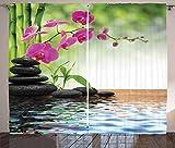 ABAKUHAUS Spa Rustikaler Vorhang, Bambus-Baum-Orchideen-Steine, Wohnzimmer Universalband Gardinen mit Schlaufen und Haken, 280 x 175 cm, Fuchsia Charcoal Grey Limonen Green