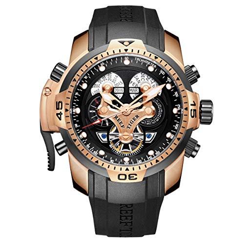 REEF TIGER Herren Uhr analog Automatik mit Kautschuk Armband RGA3503-PBBG