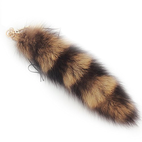 Fosrion Supper Huge and Fluffy Real Fox Tail Fur Halloween Cosplay Toy Handbag Charm Accessory Key Chain Ring Hook Tassels (Raccoon)