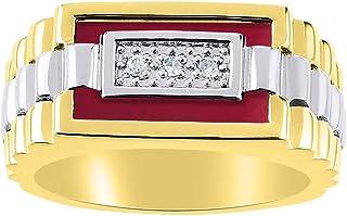 Juego de anillos de cuarzo y ónice rojo para hombre en oro blanco de 14 quilates. La piedra es especial para este anillo. ...
