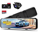 PORMIDO 12 inch Mirror Dash Cam with Detached Front Camera,Anti Glare Touch Screen Full HD 1296P,Car Rear View Backup Camera Dual Lens Sony,Super Night Vision,Parking Monitoring