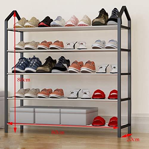 DNSJB Negro zapatero plástico de acero inoxidable de zapatos soporte de almacenamiento de cajas de almacenamiento tiene capacidad for hasta 15 pares de ahorro de espacio zapatero ( Size : 80*80*20cm )