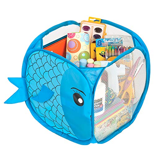 Smart Design Kids Pop Up Organizer w/Animal Print - VentilAir Mesh Netting - for Toddlers, Baby Clothes, Plushies, & Toys - Home Organization - Cube - (10.5 x 11 Inch) [Blue Fish]