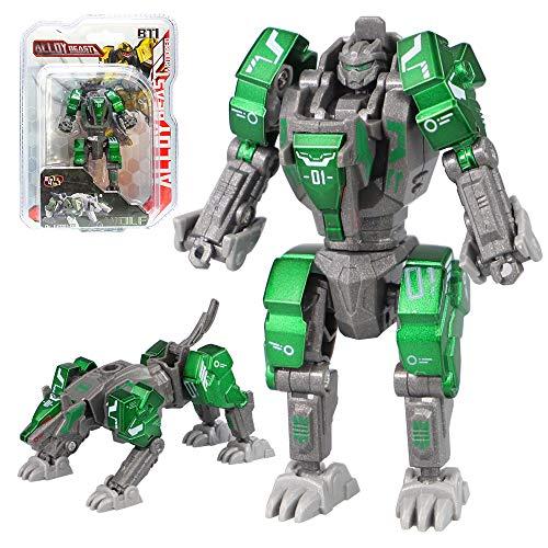 Sanggi Transformator Roboter, 2 Morphologische Transformationen Kinder Roboter Spielzeug, 16 Bewegliche Gelenke Verwandlung Legierungen Roboter, 10x5x4.5cm (Grüner Wolf)