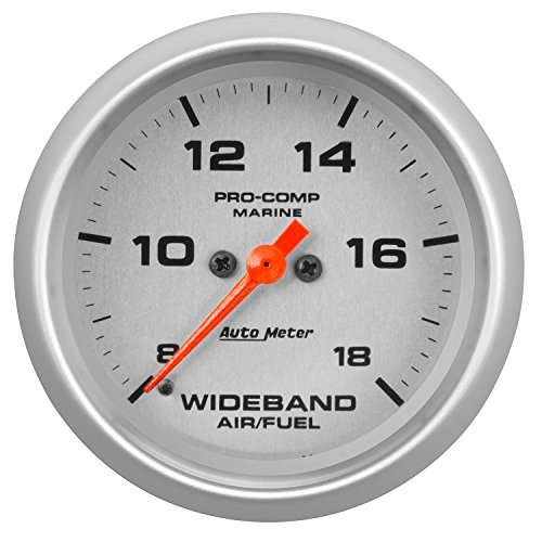 "AUTO METER 200870-33 Gauge, Air/Fuel Ratio-Wideband, Analog, 2 5/8"", 8:1-18:1, Stpr Mtr, Marine Silvr"