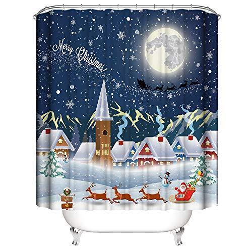 NIBESSER Duschvorhang Weihnachten 180x180 Duschvorhang-Anti-Schimmel-Wasserabweisend-Duschvorhangringen 12 Shower Curtain mit 3D Digitaldruck(Weihnachten 4 180 * 180)