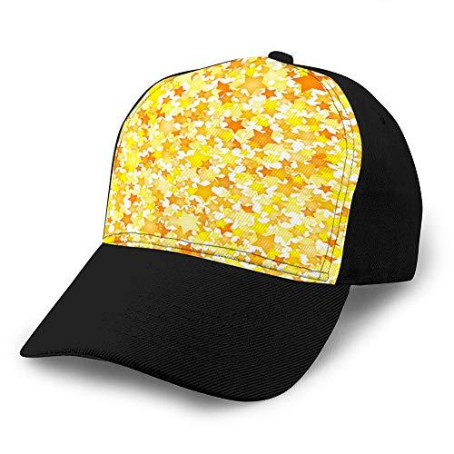 Hip Hop Baseball-Kappe, verstellbar, flach, für Sport, Baseballmütze, Unisex, gelb, Sterne, Bodenelement im flachen Stil, Baumwolle
