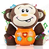 STEAM Life Plush Monkey Baby Toys - Newborn Baby Musical Toys for Baby 0 to 36 Months - Stuffed Animal Light Up Baby Toys for Infants Babies Boys & Girls Toddlers 0 3 6 9 12 Month