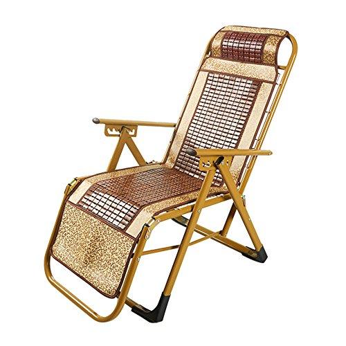 Chaise Longue à Bascule Zhaizhen en Bambou inclinable Pliable Siesta Lounge Portable Dormir Loisirs Simple été pour extérieur Cour