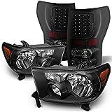 For 07-13 Toyota Tundra Black Bezel Headlight + Black Smoked LED Tail Brake Light Lamp Combo