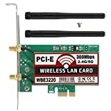 Bewinner Tarjeta de Red de computadora, Banda Dual Tarjeta de Red inalámbrica PCI-E de Antena Dual para Windows XP/Vista, Windows 7/8/8.1/10,32/64/Hackintosh, Tarjeta de Red de Escritorio