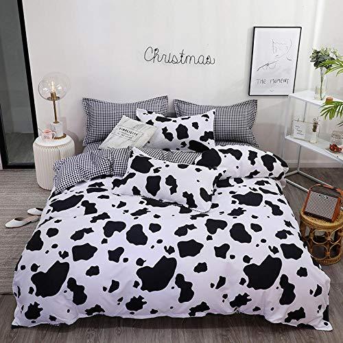 WPHRL Juego de Ropa de Cama Funda nórdica 4 Piezas Vaca Animal Blanco y Negro 150x200cm Algodón poliéster de Funda de Edredón Incluye 1 Funda de Edredón 1 Hoja y 2 Fundas de Almohada