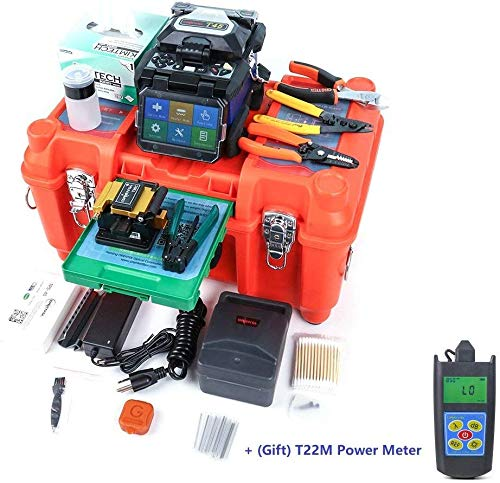ORIENTEK T45 FTTH Fiber Optic Fusion Splicer Machine Core Alignment Fusion Splicing Machine 7sec Splice Time 250μm fiber, 900μm fiber, flat cable, jump cables w/Fiber Cleaver+Optic Power Meter