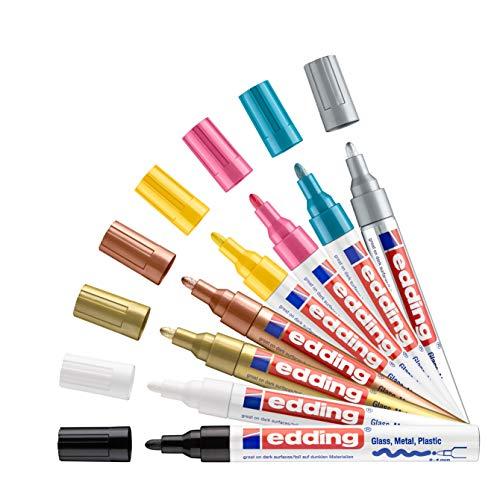 edding 750 Glanzlackmarker Set - schwarz, gelb, pink, hell-blau, weiß, gold, silber, kupfer - 8 Stifte - Rundspitze 2-4mm - Lackstift für Glas Stein Holz Kunststoff Papier - wasserfest, stark deckend