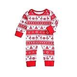 Bebé Pijama de Navidad Mono Navideño para Recién Nacido Pelele de Manga Larga con Botones para Niños Niñas Ropa de Una Pieza de Algodón para Invierno Hogar (Rojo, 3-6 Meses)