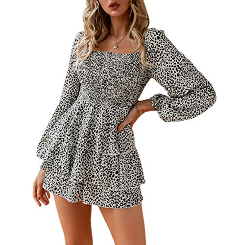 Narspeer Women's Casual Printed Rompers Leopard Summer Baggy Long Sleeve Layered Ruffle Short Jumpsuits Playsuits Leopard L