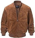 FLAVOR Men's Leather Baseball Jacket Vintage Suede Pigskin (X-Large, Brown)