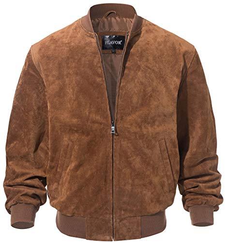 FLAVOR Men's Leather Baseball Jacket Vintage Suede Pigskin (Small, Brown)