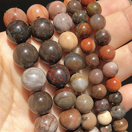 Caviland Natural Stone Wooden Petrified Jades Round Beads For Jewelry DIY Making Bracelet Earrings Accessories 15 Inches Pick Size 6 8 10 12 Mm 12mm (approx 28pcs)
