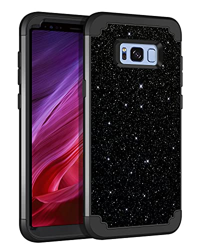 Lontect for Galaxy S8 Case Glitter Sparkle Bling 3 in 1 Heavy Duty Hybrid Sturdy High Impact Shockproof Cover Case for Samsung Galaxy S8, Black