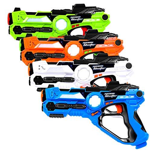 COSTWAY Juego de 4 Piezas Pistolas con Infrarroja Juguete para Niños con 4 Modos de Arma para Interior y Exterior