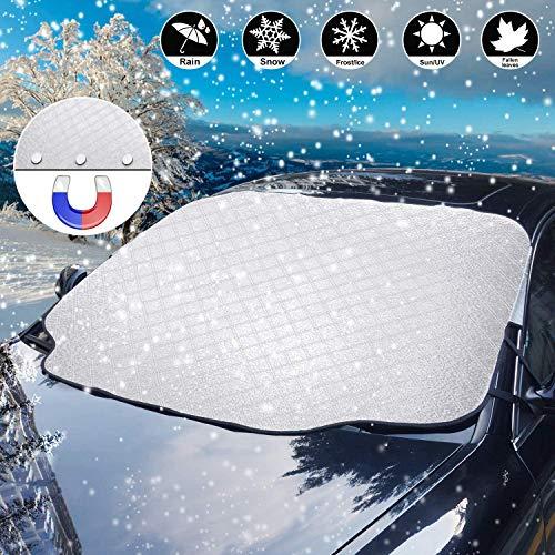 Bigmeda Frontscheibenabdeckung,Auto Sonnenschutz Windschutzscheiben Abdeckung 3 Magnet UV-Schutz für Sommer Wintergegen Schnee, EIS, Frost, Staub, Faltbare Abnehmbare(147x116cm)
