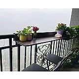 Sysyrqcer Sandige faltende Wandmontage-Balkon-Tisch, schwimmender Schreibtischlift-Terrasse tragbarer Außen-Aluminium-Klapptisch - einfach zu montieren (80 × 27 cm, braun)