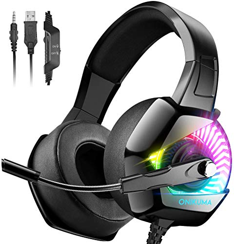ONIKUMA Gaming Headset for PS5 PS4 with 7.1 Surround Sound & RGB LED Light,Xbox Series X|S,Xbox One Headset Noise Canceling Mic Compatible with Playstation 5/4/3 PC/Mac/Nintendo Switch