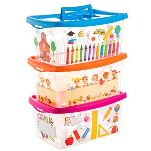 Cajas para niños, transparentes, con tapa y asa, 4litros, 3unidades