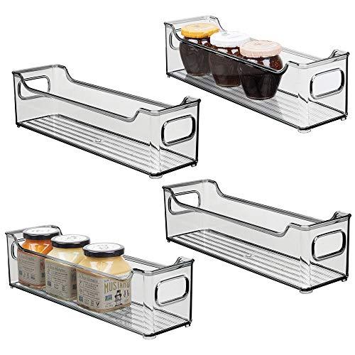 mDesign 4er-Set Aufbewahrungsbox für die Küche – Kühlschrankkorb aus Kunststoff – Kühlschrankbox für Milchprodukte, Obst und andere Lebensmittel – dunkelgrau