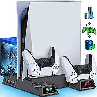ICYSTOR PS5 Cooling Vertical Stand 2 Controller Charger 2 Cooler Fan 13 Game Storage for Playstation 5 Digital Edition/Ult...