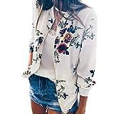 Rosennie Jacke Damen Frühling Herbst Langram Casual Jacke Mode Blumenmuster Bomberjacke Damen Winter Sale Kurz Jacke Reißverschluss Stehkragen Outwear