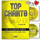 Top Charts Gold 13 - Libro de canciones para piano, teclado y guitarra (con 2 CD, memoria USB y pinza para partituras)