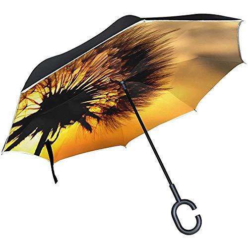 Alice Eva Inverted Umbrella Dandelion East Sun Sky Red Pflanzen Silhouette Regenschirme Reverse Taschenschirm Big Straight Umbrella