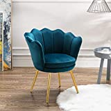 Chairus Velvet Accent Chair for Living Room/Bed Room, Upholstered Mid Century Modern Leisure Arm Chair with Gold Metal Legs, Guest Chair, Vanity Chair(Teal Blue)