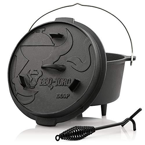BBQ-TORO Horno Holandés I Serie Premium I Dutch Oven I Atizador I Tapa I Hierro Fundido I Quemado I Barbacoa